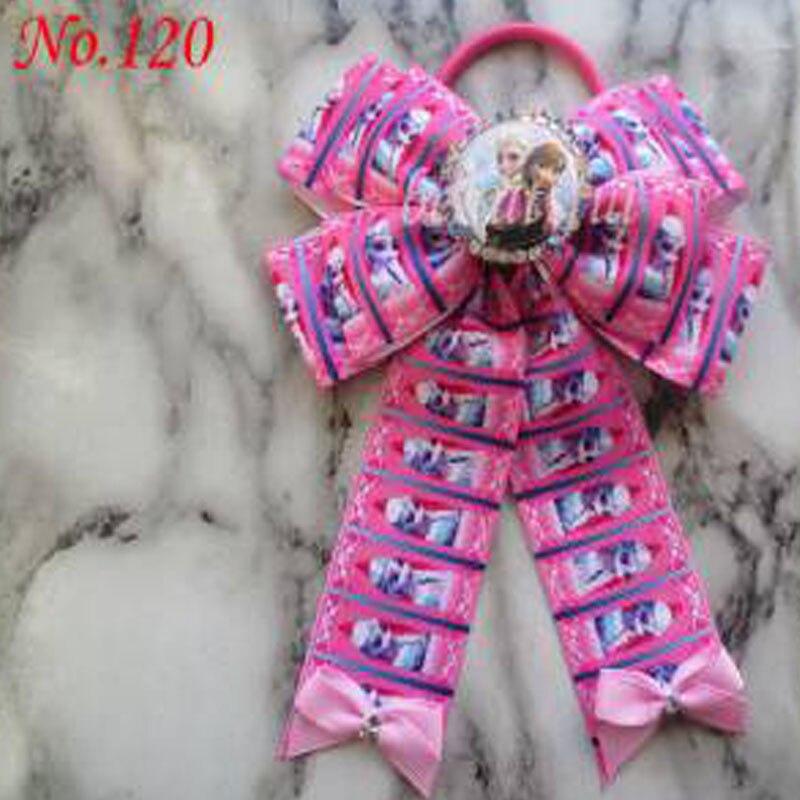 100 bénédiction bonne fille Boutique 5x6.5 Bowknot queue de cheval cheveux arc élastique 128 No. - 3