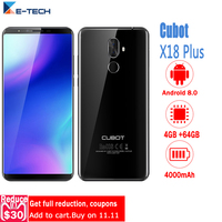 Cubot X18 Plus Unlocked Cell Phones 5.99 Android 8.0 MT6750T Octa Core Smartphone 4GB RAM 64GB ROM 20.0MP 4000mAh Mobile Phone