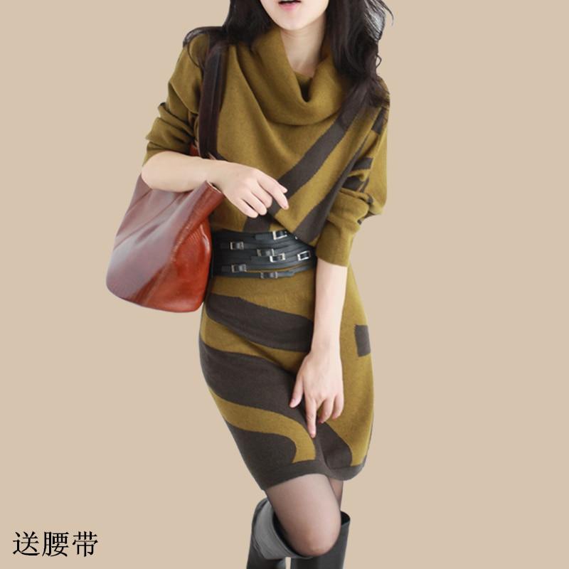 Womens Autumn Winter New Dresses Long Sleeve Knit Sweater Dress Turtleneck Slim Lady Free Belt waist Package hip dresses