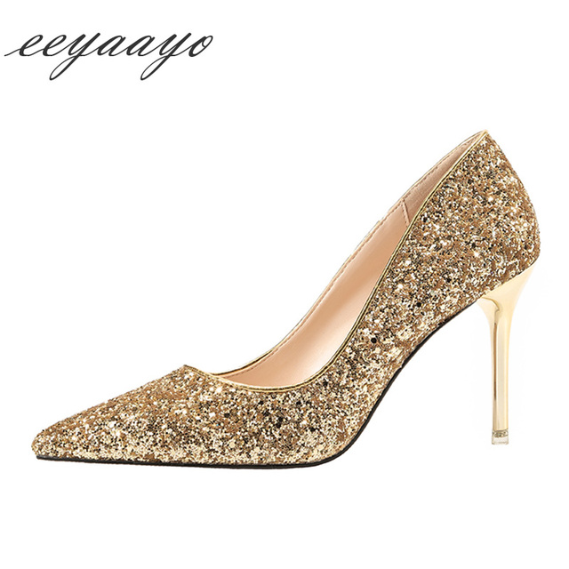 2019 New Spring/Autumn Women Pumps High Thin Heel Pointed Toe Shallow Sexy Bling Bridal Wedding Women Shoes Gold High Heels