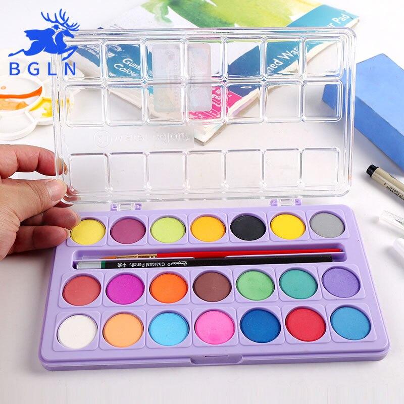 BGLN 21Colors Powder Solid Watercolor Painting Set Bright Color Portable Watercolor Pigment Powder Set For Kids Students Art