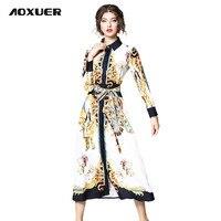 Aoxuer جديد خمر قصر نمط طباعة قميص اللباس المرأة أنيقة طويلة الأكمام أزياء حزام ضئيلة الشارع عارضة اللباس vestido b678