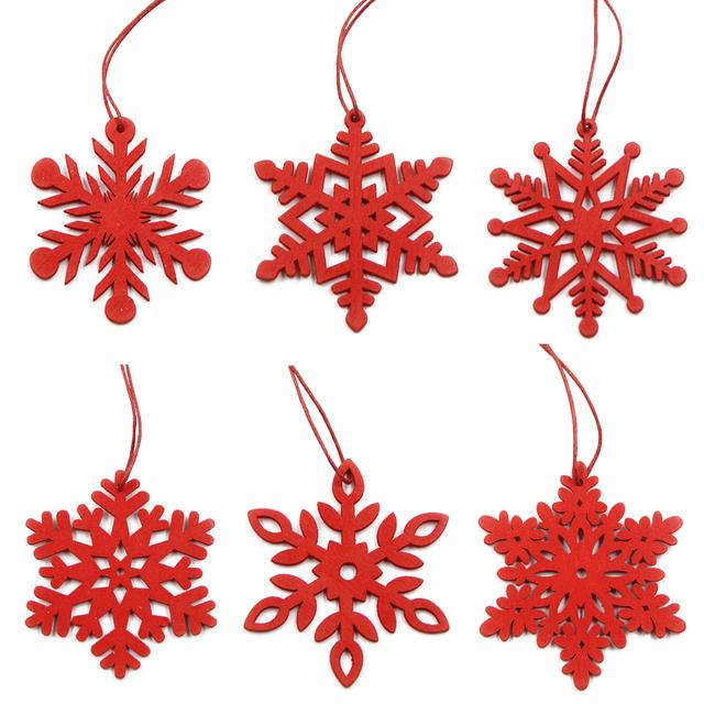 Wooden Decorations for Christmas 6 Pcs Set