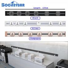 On Sale Aluminum Alloy 8000W 120cm Tomada  Usb Wall Socket Eu Plug LED Light Meeting Room Kitchen Sockets