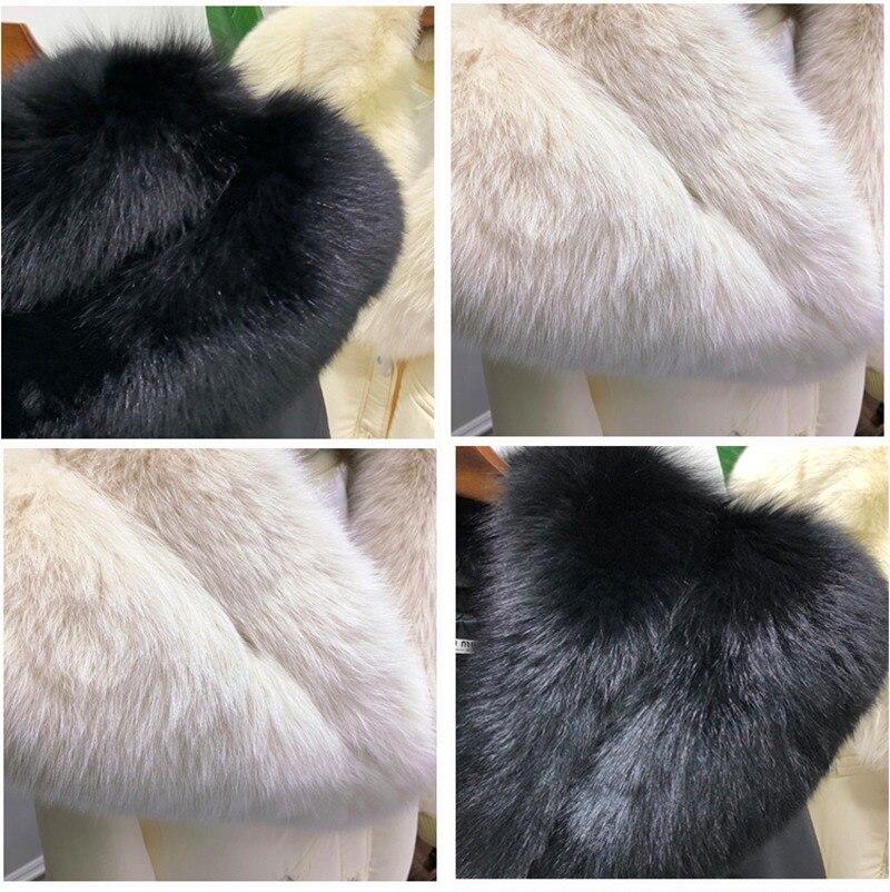 Noir Épais Femme Véritable Femmes Renard Beige Vestes Manteau D'hiver black Canard Duvet Mode Beige Fourrure De Grand Élégante Couleur Chaud Luxe Col 2018 H675Axxw