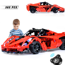 цена на 385pcs Remote Control Car Building Blocks Technic Series DIY Blocks Toys For Kids Sport RC Off-load Car Model Bricks Sets Gifts
