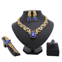 2018 African Wedding Jewelry Sets African Big Women Necklace African Blue Bead Jewelry Sets Indian Fashion
