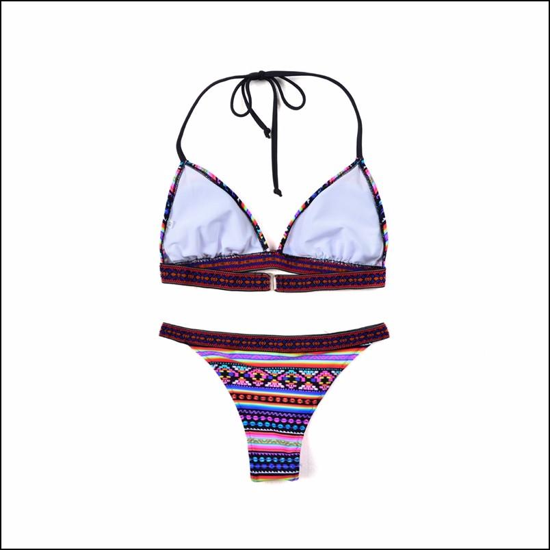 17 Spicy Women Triangle Biquini Ethnic Pattern Bandage Sexy Swimwear Low Waist Thongs Brazilian Bikini Set Hot Bathing Suit 10