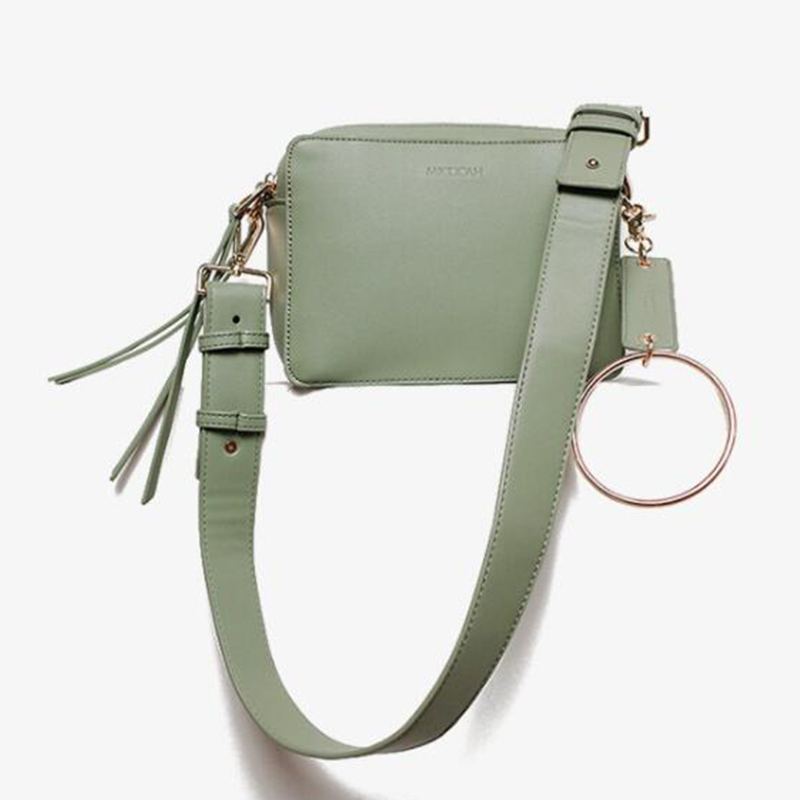 Double Zipper Round Ring Women Shoulder Bag Pu Leather Wide Strap Flap Bag 2018 Summer Fresh Crossbody Messenger Bags Handbag 2017 summer metal ring women s messenger bags solid scrub leather women shoulder bag small flap bag casual girl crossbody bags