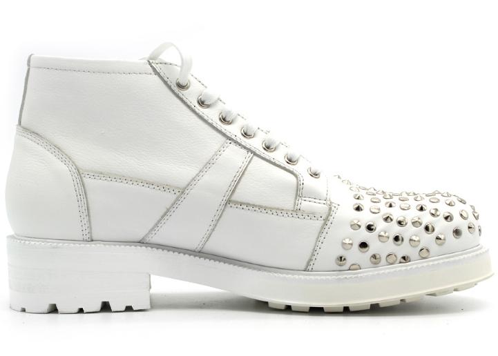 Botas Encaje Zapatos Blanco Estilo A Hechos Mano Cabeza Único Hombres Remache De Grande Gruesas Inglaterra Joker CXw1qwP