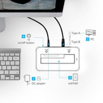 ORICO 2,5/3,5 pulgadas USB3.0 a SATA HDD estación de acoplamiento caja de disco duro 8TB con 12V2A adaptador de corriente Disco Duro carcasa