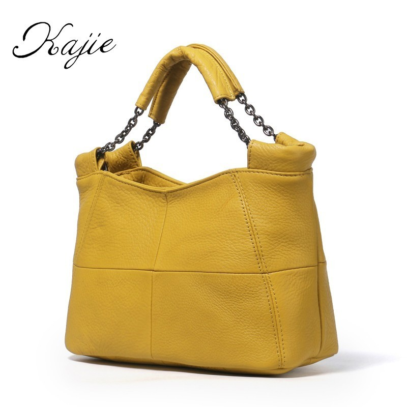 Kajie Brand Women's Cow Leather Handbags Female Shoulder Bag Designer Luxury Lady Bucket Tote Zipper Handbag For Women Bags aelicy women s leather handbags female shoulder bag luxury designer lady tote large capacity zipper handbag for women bolsas