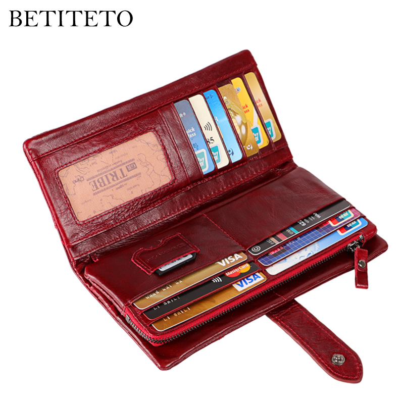 Betiteto Brand Women Wallet Genuine Leather Coin Purse Female Vintage Carteras Handy Clutch Portomonee Partmone Cuzdan