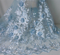 1 Yard New Fashion 3D Flower Lace Fabric With Pearl Beaded Embroidery Mesh Material For Woman Dress, Costume Design