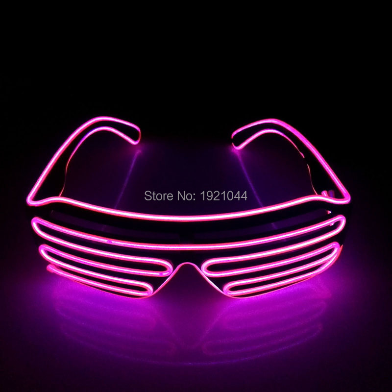 DC-3V Sound activated Inverter EL Wire Flashing Shutter glasses Neon glow light Color Pink for Holiday Party DIY Decoration