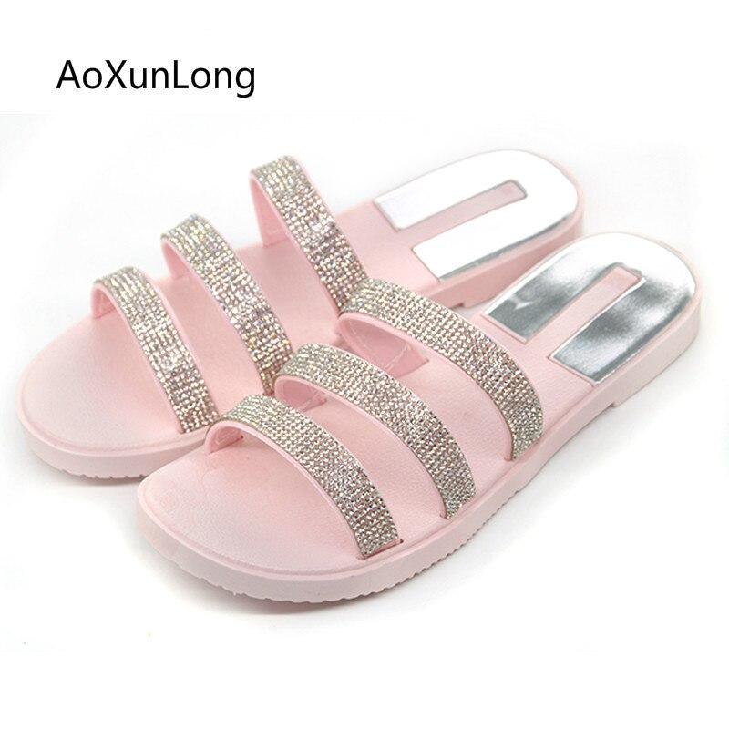 rosa piatto scivoli strass spiaggia esterni beige nero Aoxunlong antiscivolo moda sandali infradito donne causale coperta Iwx6YIaqS