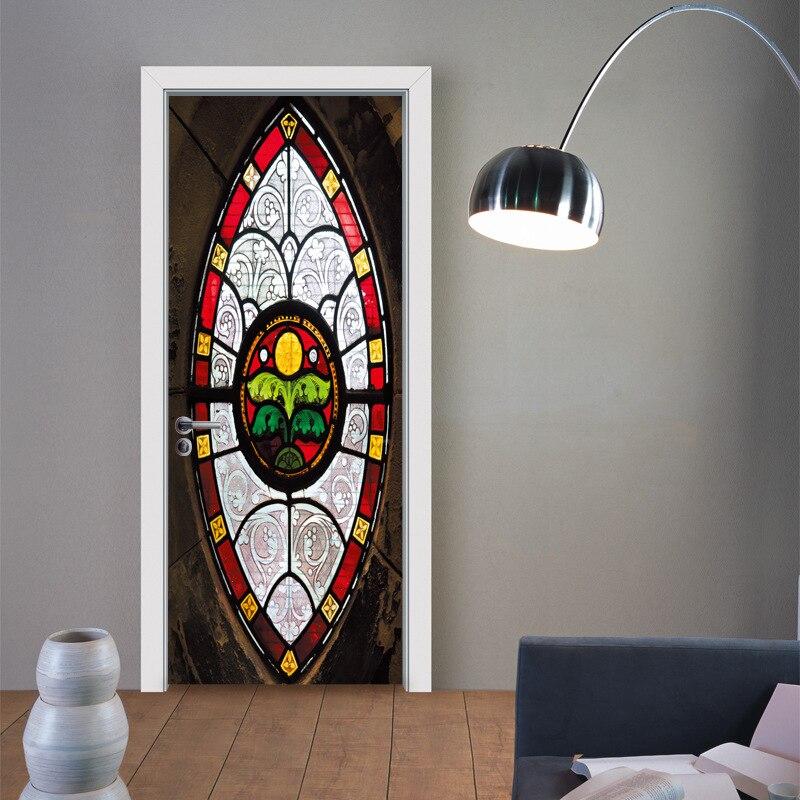 New 2pcs/set 3D Muslim Style DIY Door Art Mural Sticker Self-adhesive PVC Wooden Door Wall Stickers Home Decor ZB97