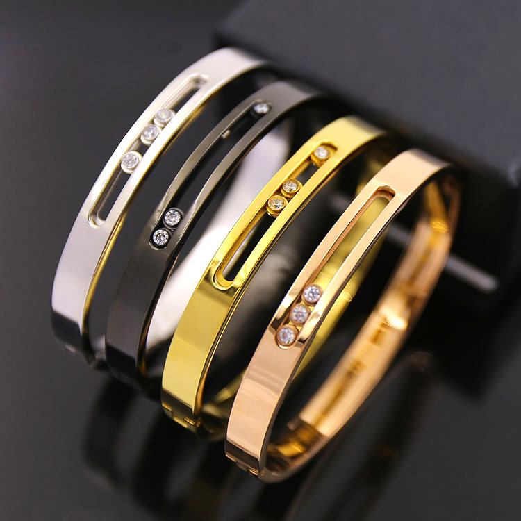 Fine fashion titanium steel Love Bracelet&bangle woman jewelry With Three Career Ol Hollow Men H Bracelet For Each Button gift