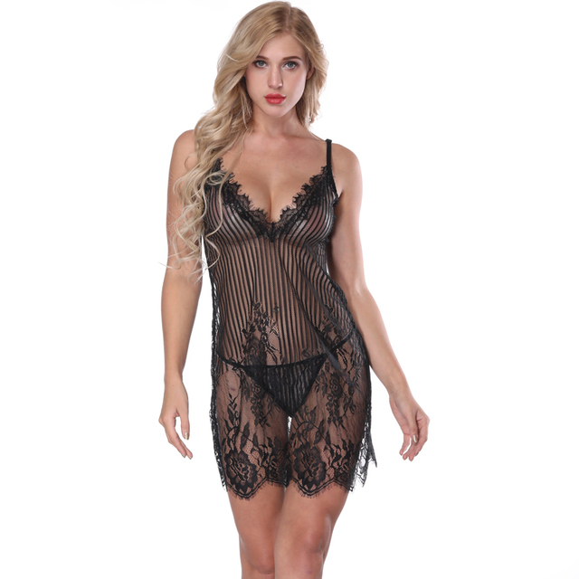 c9085c6ba NINGMI Full Slip Sexy Lingerie Set Lounges Hot Erotic Underwear Lace Baby  Doll Underskirt Women Deep