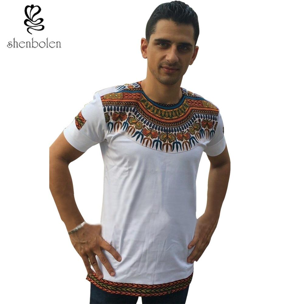 Shirt design in nigeria - 2016 Mens African Clothing Ankara Style Cotton Stitching Wax Printing Tops Man T Shirt Dashiki Clothes