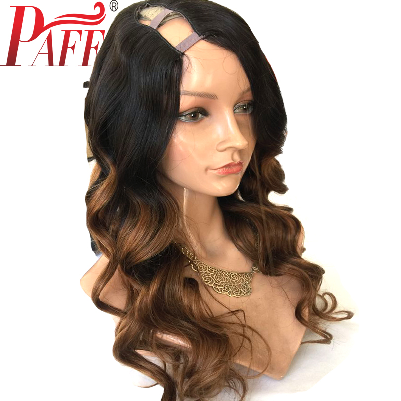 PAFF Ombre U Part Human Hair Wigs Body Wave 100% Brazilian Remy Hair Middle Part 1*3 1*42*4 Two Tone Color Free shiping
