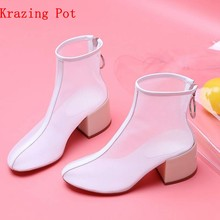 Krazing Pot 2018 hot selling air mesh high fashion vrouwen schoenen hoge hakken ronde neus plus size zonnebrandcrème Herfst enkel laarzen L19(China)