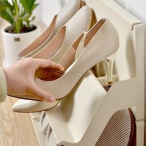 Image 3 - プラスチック靴ラックリビングルームシューズ棚 2 個自己アセンブリ家庭用垂直複合靴収納キャビネット戸口職人