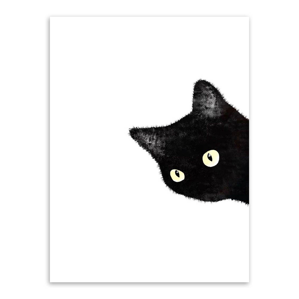 Watercolor-Minimalist-Kawaii-Animals-Black-Cats-Head-Canvas-A4-Art-Print-Poster-Nordic-Wall-Picture-Home (1)