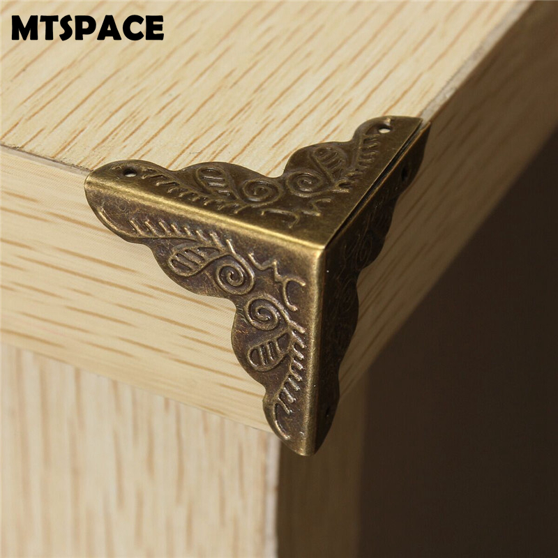 MTSPACE 10pcs/Set Classical Jewelry Box Corner Foot Wooden Case Corner Protector Bronze Tone Flower Pattern Carved Metal Crafts