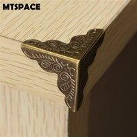 Mtspace 10 pçs/set caixa de joias clássica  canto pé  estojo de madeira  protetor de canto  tom bronze  flor  padrão  artesanato em metal esculpido