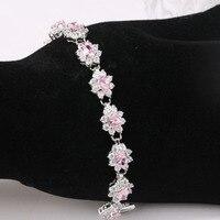 Suave Hot Pink Branco Moda Jóias 925 Sterling Silver Overlay elo da Cadeia Pulseira Oval 7-8 polegada Frete Grátis S795602