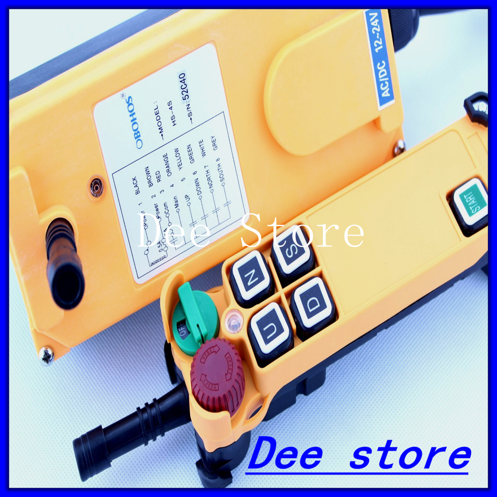 Free Shipping 4 Channel 1 Speed Hoist Crane Truck Radio Remote Control Push Button Switch System with E Stop