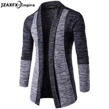 Новинка Для мужчин свитер в стиле пэчворк модные узор Дизайн кардиган с длинными рукавами халат свитер тонкий свитер для повседневной носки