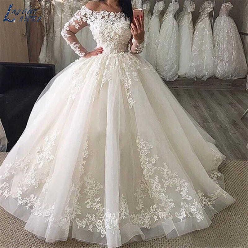SHJ913 חתונה שמלות ארוך שרוולי תחרת כדור שמלת חתונת שמלת חלוק דה mariee vestido דה noiva הכלה שמלת vestidos דה festa
