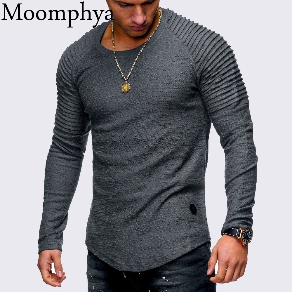 Moomphya hombres manga larga Camiseta plisado Slim Fit camiseta hombres Longline curved hem flaco hip hop camiseta streetwear