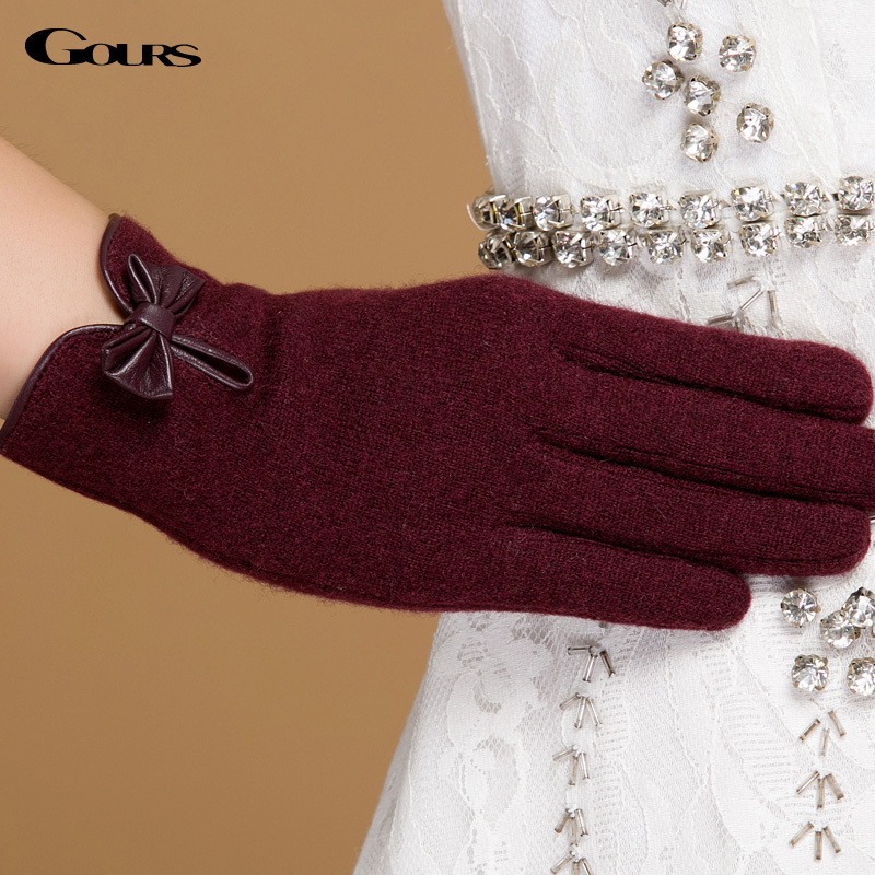 Gours Winter Women Wool Cashmere Gloves Fall New Fashion Brand Mittens Black Warm Driving Gloves 3-Style 4-Color GSL059