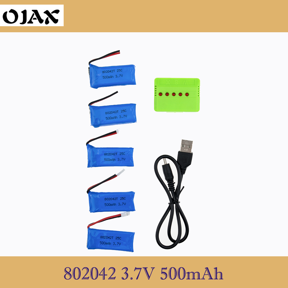 5Pcs 3.7V 500mAh 25C Drone Rechargeable Lipo Battery 802042 + USB Charger Set For RC Hubsan 107 Udi U942A U816 JXD385 lipo battery 7 4v 2700mah 10c 5pcs batteies with cable for charger hubsan h501s h501c x4 rc quadcopter airplane drone spare