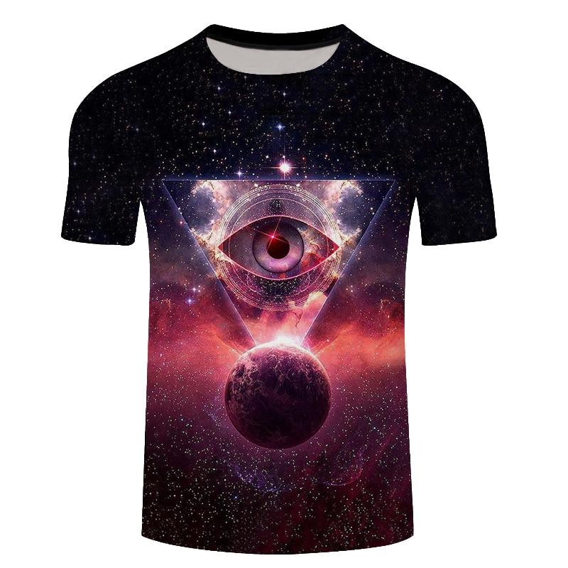 2018 New Men 3D Tshirt Space Earth 3D Print Summer Cool Tees Tops Fashion Casual Clothing Harajuku Plus Size 6XL