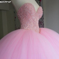 Fuffy Ball Gown Pink Quinceanera Dresses Long Sweetheart Appliques Beaded Vestidos De 15 Anos Shiny Prom