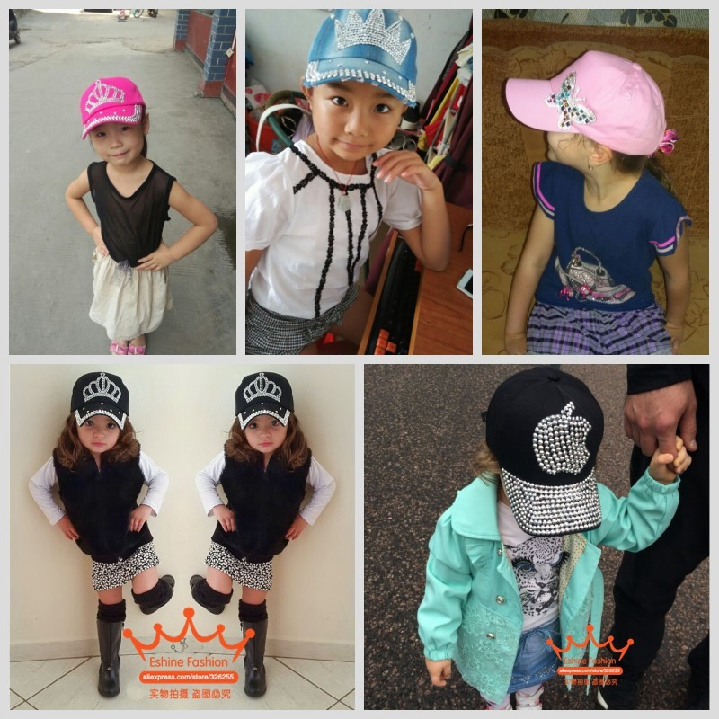 High Quality child cap hats latest design rhinestone crown boy girls kids  snapback caps new fashion children brand baseball cap-in Hats   Caps from  Mother ... 7e725bd5cf9