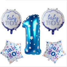 5pcs/set 32Inch Blue Boy Pink Girl Baby Birthday Party Aluminium Foil 0-9 Digit Round and Heart Shape Balloon Baby Shower Supply(China)