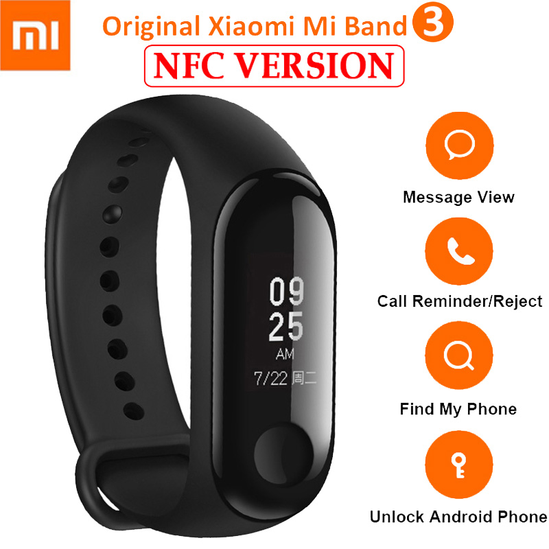 Original Xiaomi Mi band 3 NFC Miband 3 Smart Wristband Heart Rate Monitor Bracelet With OLED Smart Bracelet Band For Miband 2 tpu band with white round dot for xiaomi miband 1s