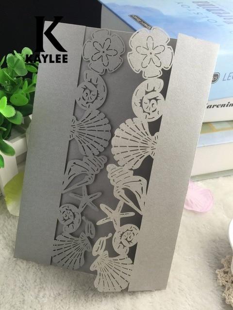 50pcs Free Shipping Shell Design Craft Wedding Invitation Card
