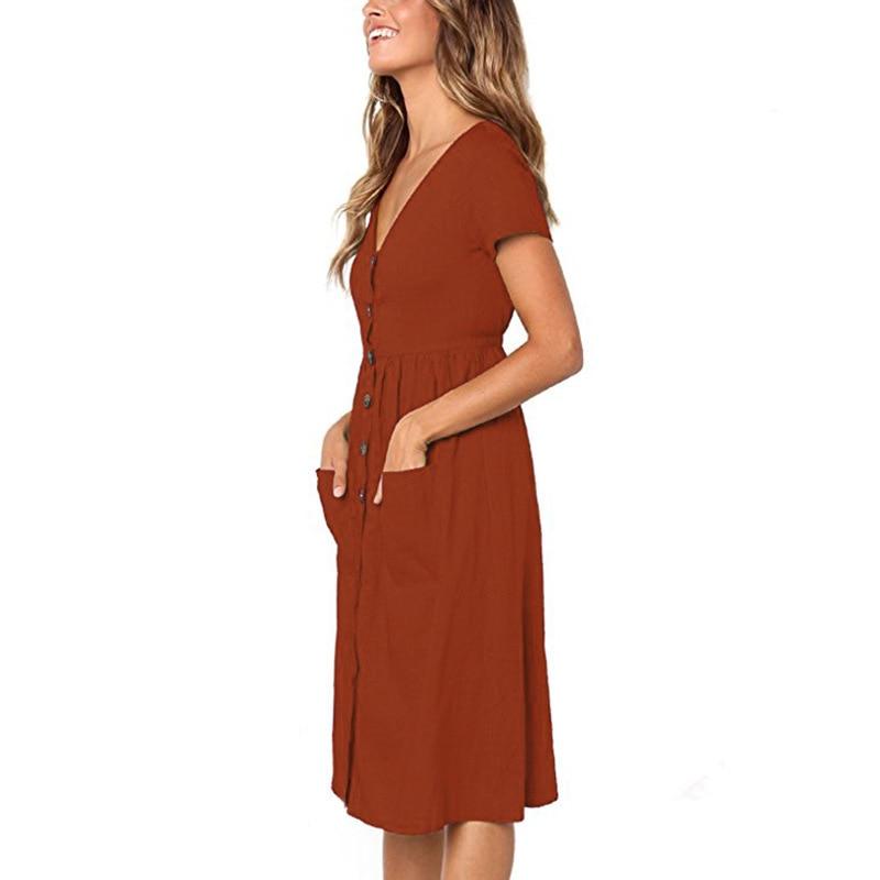 Red Blue A Line Casual Dresses Women Autumn Dress 19 Vintage Long Sleeve Dress For Ladies Buttons V Neck Midi Vestidos Female 104