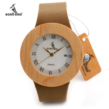 Luxury Brand BOBO BIRD Men and Women Wooden Watch JAPAN Movement 2035 Watch relogio masculino Leather Strap Clock