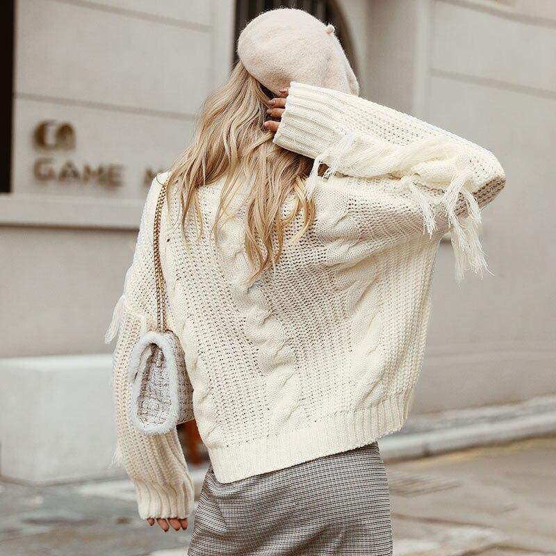 Conmoto Solid Deep Gray Casual Women Sweaters 19 Winter Turtleneck Knitwear Sweater Oversized Tassel Knitted Pullovers Jumpers 5