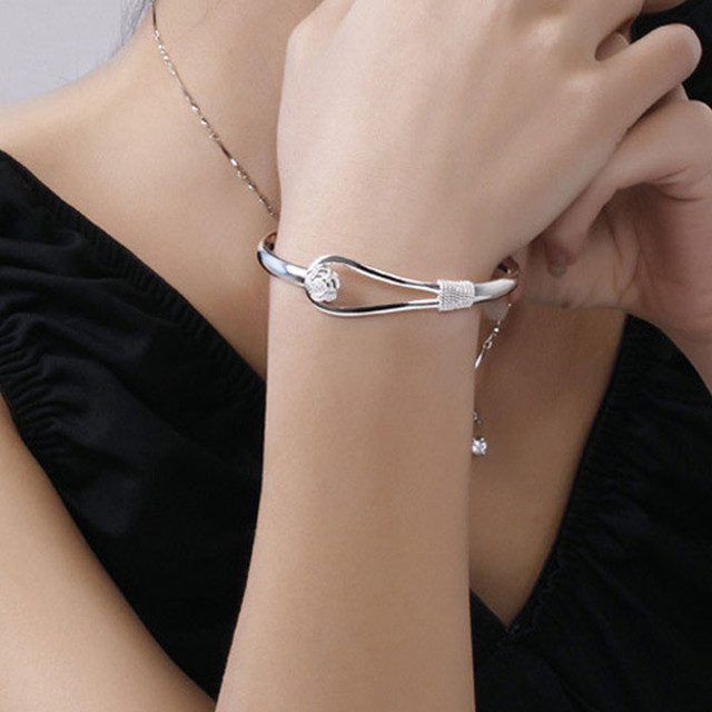Unique Design Women Lady Trendy Jewelry Bangle Solid Silver Elegant Nice Flower Clasp Bangle Bracelet Pulseira Wholesale Gifts
