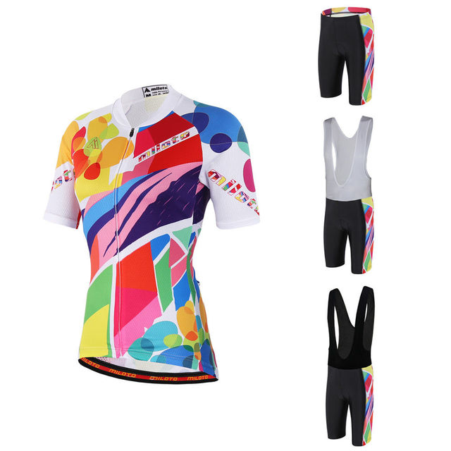 ea00fe791 Colorful Women s Road Bike Set Ladies Cycling Jersey and Bicycle Padded (Bib)  Shorts Mountain Bike Kit Short Sleeve Size S-5XL