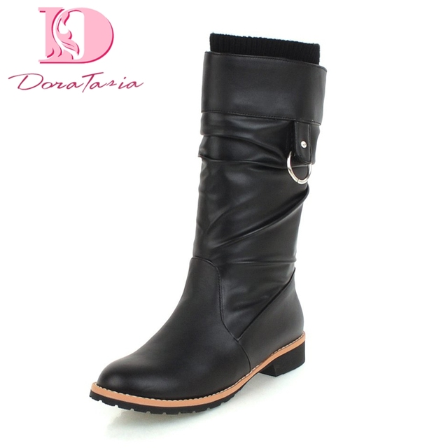 DoraTasia Artı Boyutu 34-43 üzerinde kayma Kış kadın Ayakkabı kadın Çizmeler Kare Topuklu Sıcak Satış Dropship Orta Buzağı çizmeler Kadın Ayakkabı