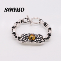 SOQMO 925 Sterling Silver Cool Ghosts Eyes 2 Colors Rose Red Yellow Stone Bracelets for Men Vintage Gothic Punk Mens Jewelry